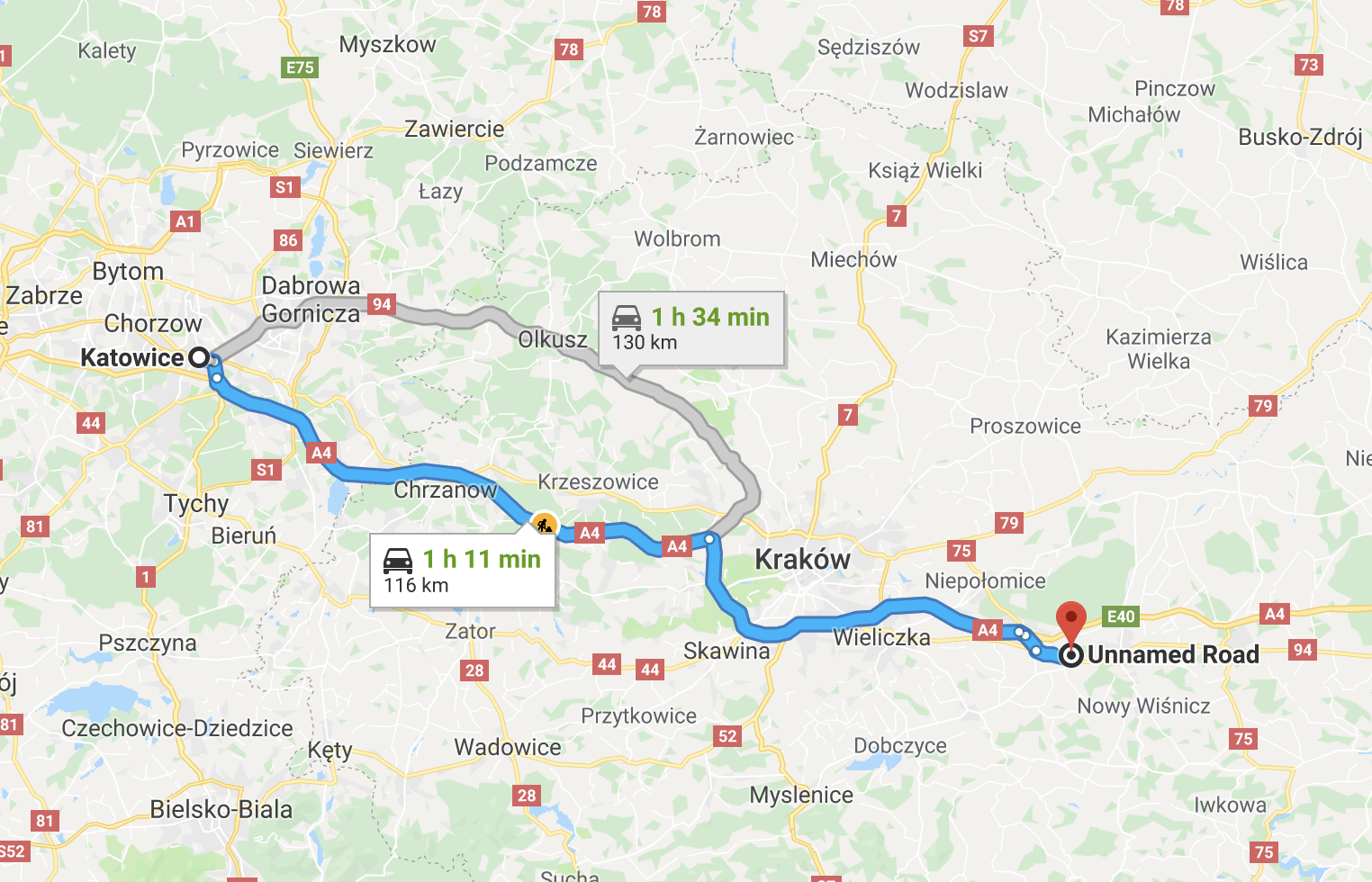 Map from Katowice