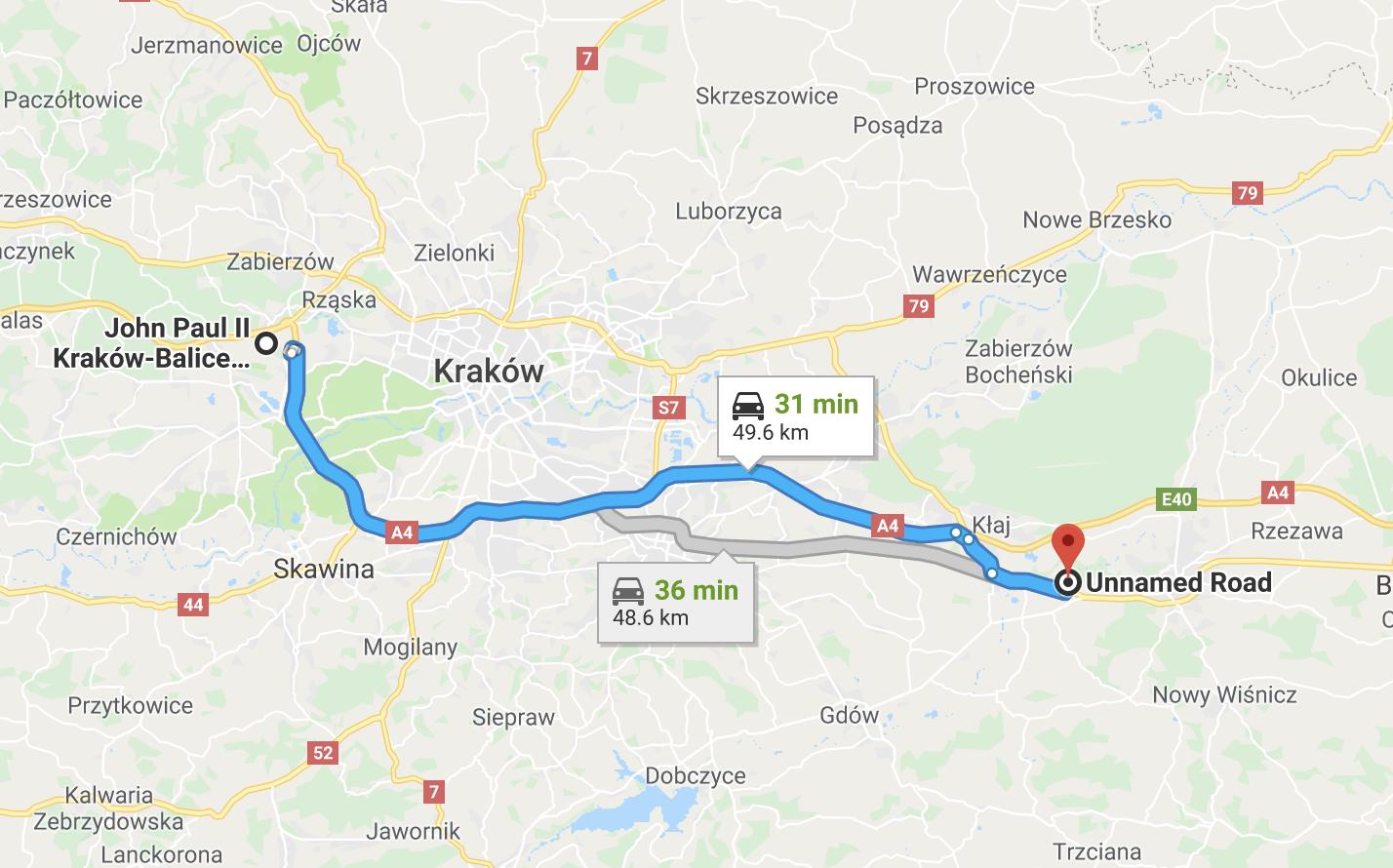 Map from Kraków